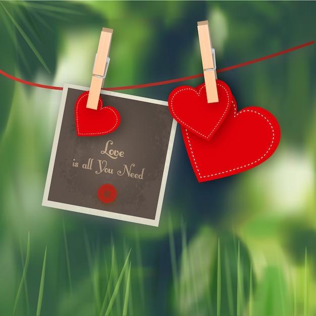 Hearts with polaroid Free Vector