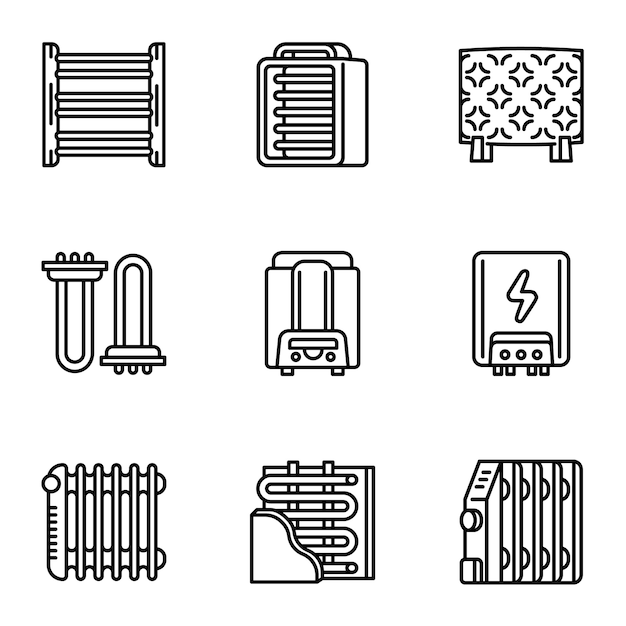 Heater icon set, outline style Premium Vector