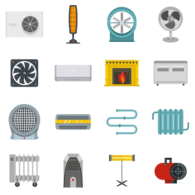 Heating cooling air icons set in flat style Premium Vector