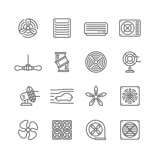 Heating and cooling airflow pictograms. ventilation, airing filter, fan, blower, aerodynamics, turbine air vector icons. illustration of airflow ventilator, fan ventilation, cooler equipment Premium Vector