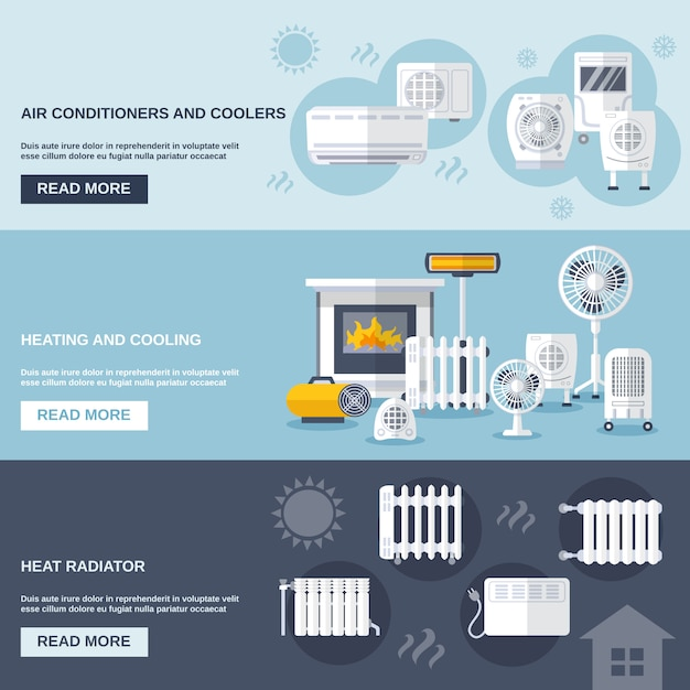 Heating and cooling banner Free Vector