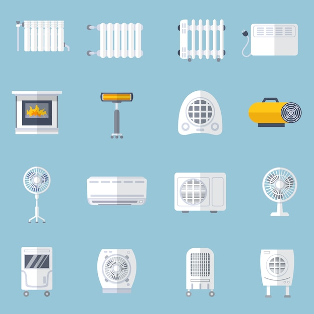 Heating and cooling flat set Free Vector