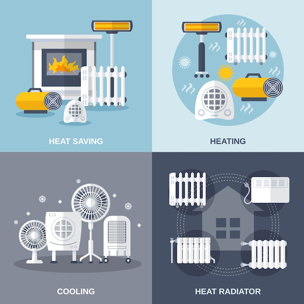 Heating and cooling flat Free Vector