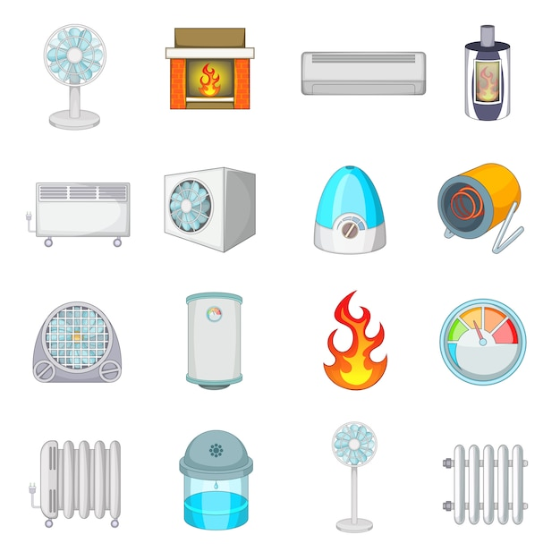 Heating cooling icons set Premium Vector