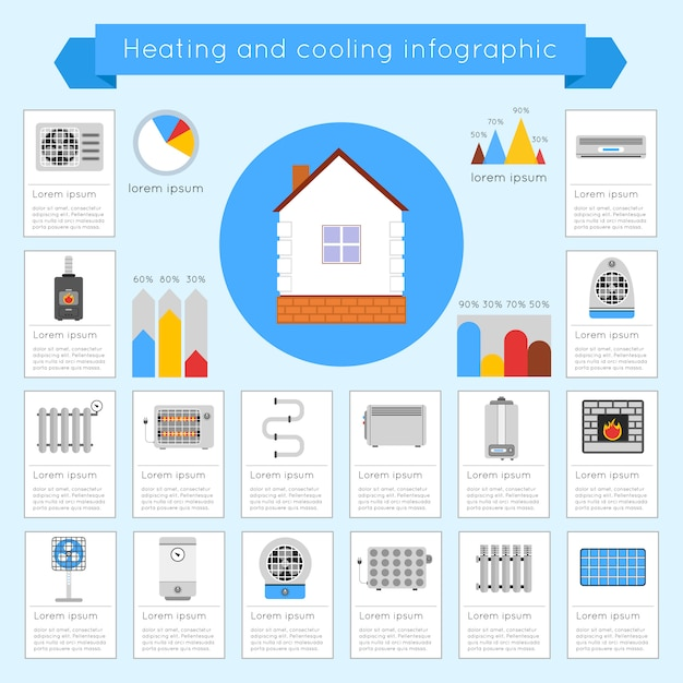 Heating and cooling infographic template set with coldly cool heat hot vector illustration Free Vector