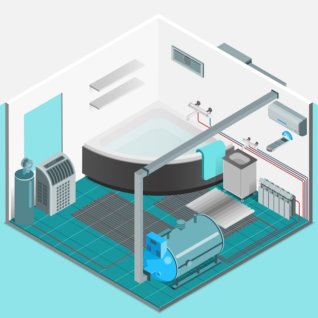 Heating cooling system interior isometric concept Free Vector