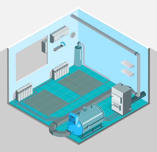 Heating cooling system interior isometric template Free Vector