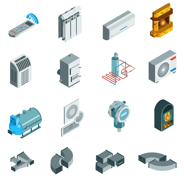 Heating cooling system isometric icons set Free Vector