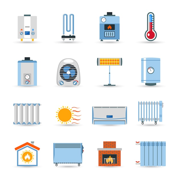 Heating flat color icon set Free Vector