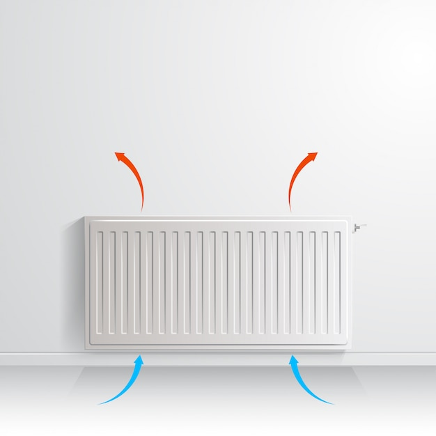 空気循環、正面図を示す矢印の付いた白い壁にラジエーターを加熱します。 Premiumベクター