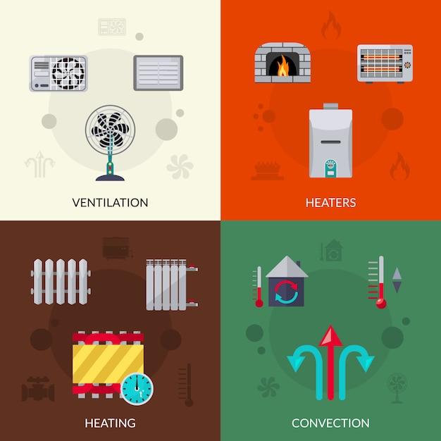 Set di icone di ventilazione e di convezione del riscaldamento Vettore gratuito
