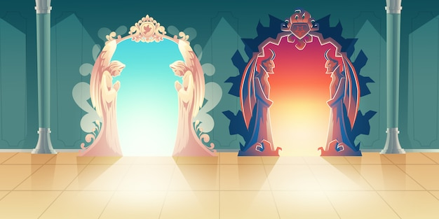 Heaven and hell gates cartoon vector with humbly praying angels and scary horned demons meeting gues Free Vector