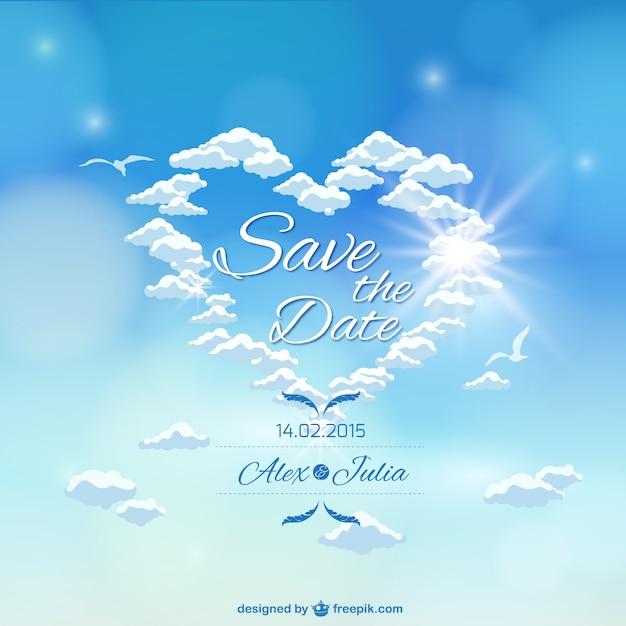 heaven sky wedding invitation vector free download