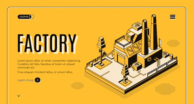 Heavy industry company isometric web banner Free Vector