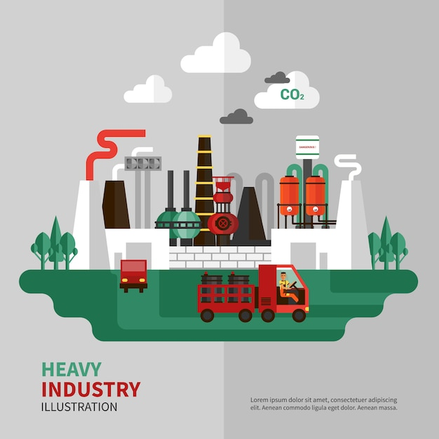 Heavy industry illustration Free Vector