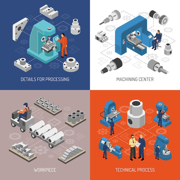 Heavy industry isometric design concept Free Vector