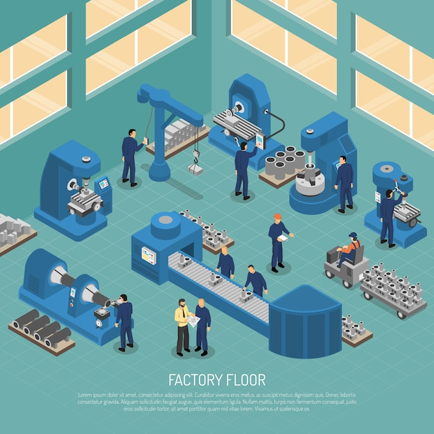 Heavy industry production facility isometric poster Free Vector