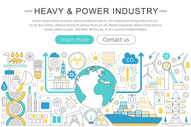 Heavy and power industry flat line concept Premium Vector