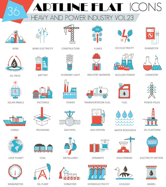 Heavy and power industry flat line icons set Premium Vector