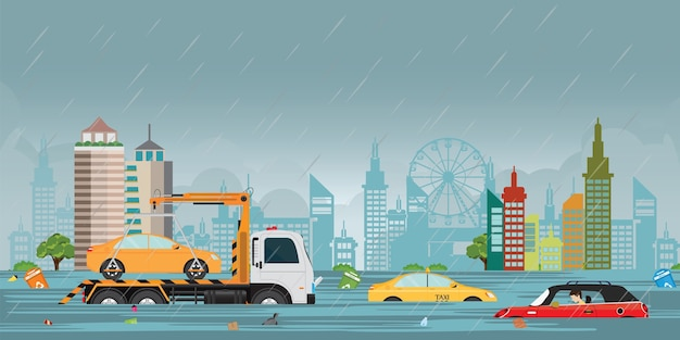 Heavy rain drops and city flood on city view . Premium Vector