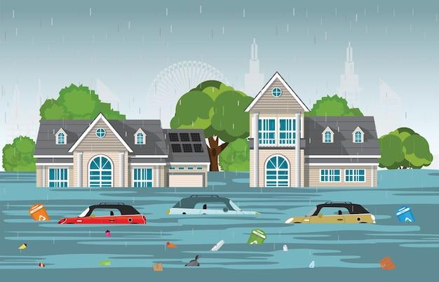 Heavy rain drops and city flood in modern village. Premium Vector