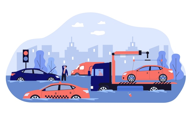 Heavy rain and water flood damaging cars, road and city traffic. tow truck carrying broken vehicle.  illustration for spring storm, rainy weather, hurricane, disaster concept Premium Vector