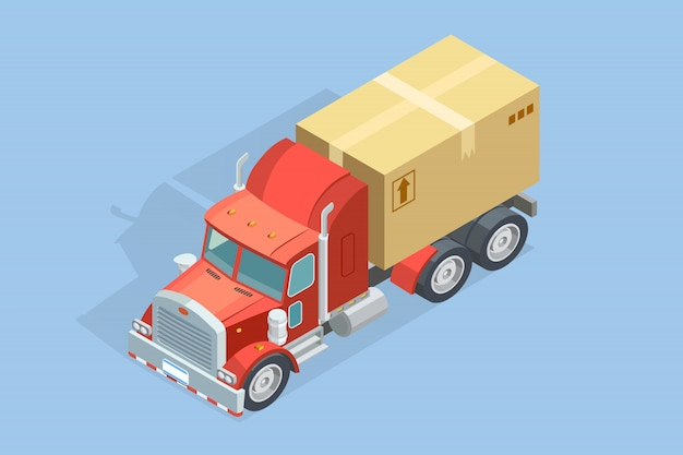Heavy truck isometric template Free Vector