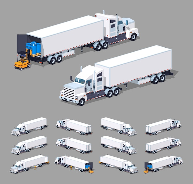 Heavy white 3d lowpoly isometric truck with the trailer Premium Vector