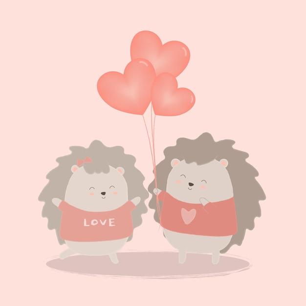 Il riccio dà palloncino cuore alla coppia con amore, cartone animato isolato animali carini animali romantici coppie innamorate, concetto di san valentino, illustrazione Vettore gratuito