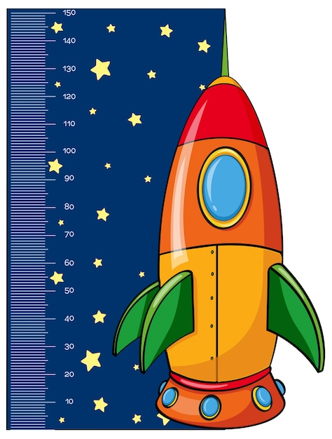 Height measurement chart with rocket Free Vector