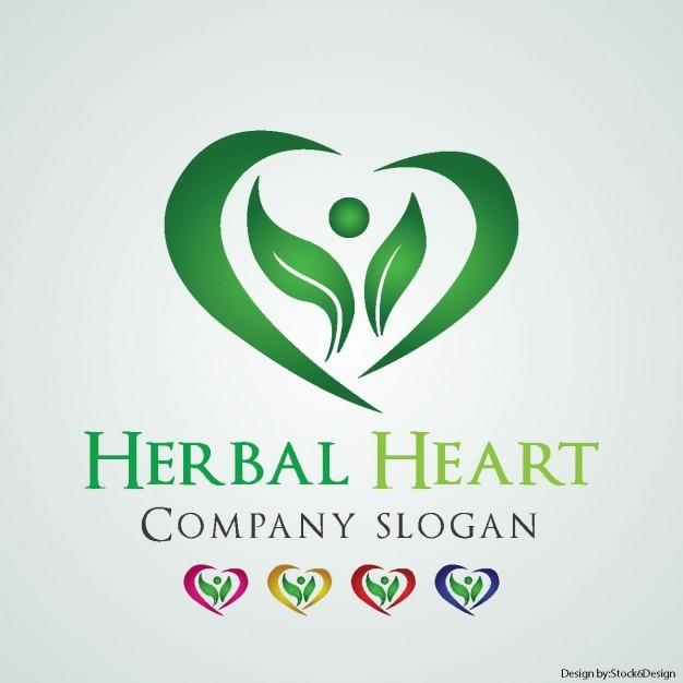 Helbal heart logo Free Vector