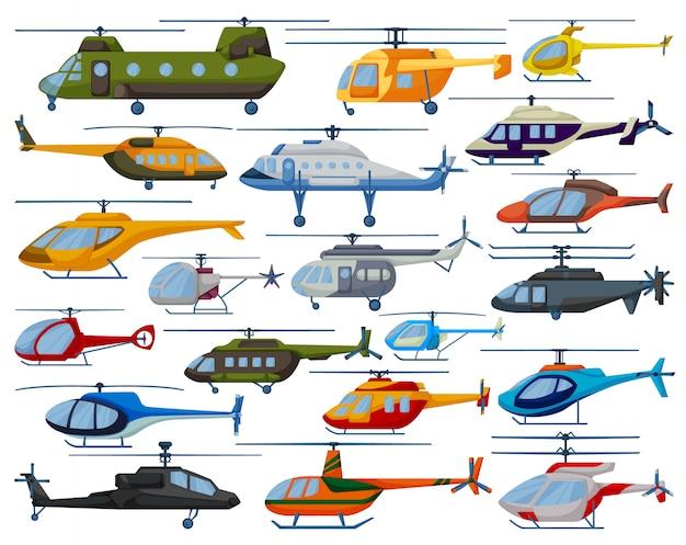 Вертолет мультфильм установить значок. иллюстрация вертолет на белом фоне. мультфильм установить значок вертолет. Premium векторы