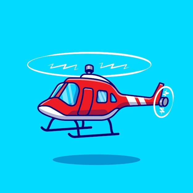 Helicopter cartoon vector icon illustration air transportation icon concept isolated vector. flat cartoon style Free Vector