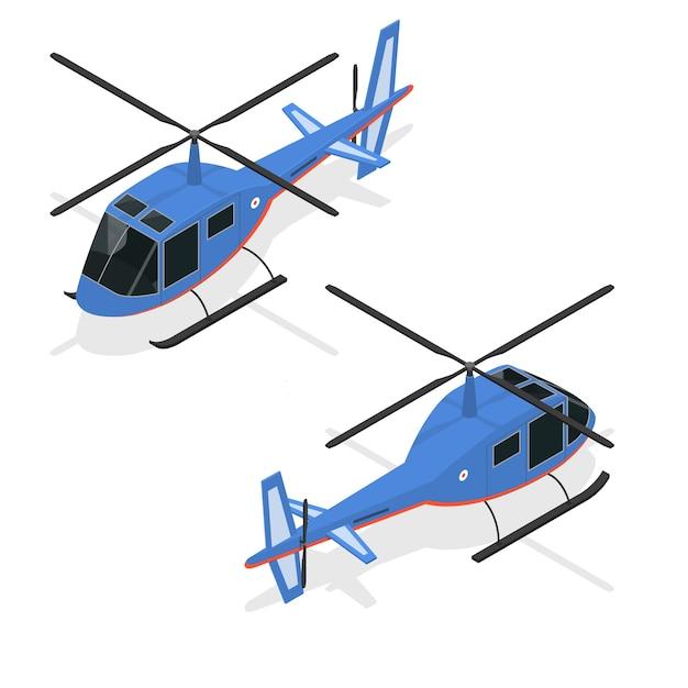 Изометрическая проекция вертолета быстрого воздушного пассажирского транспорта. Premium векторы