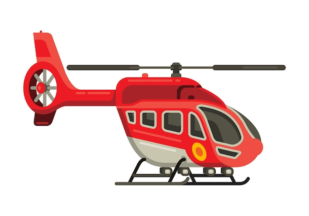 Helicopter flat style vector illustration Premium Vector