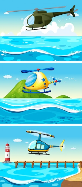 Helicopter flying over the ocean\ illustration
