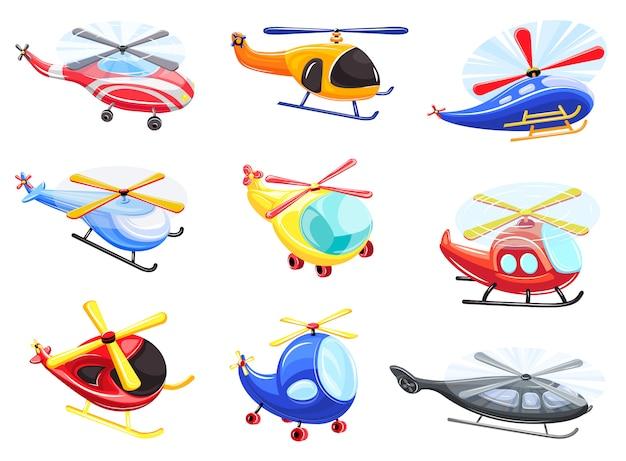 ヘリコプターのアイコンセット、漫画のスタイル Premiumベクター