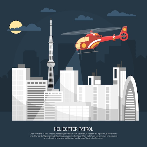 Helicopter patrol illustration Free Vector