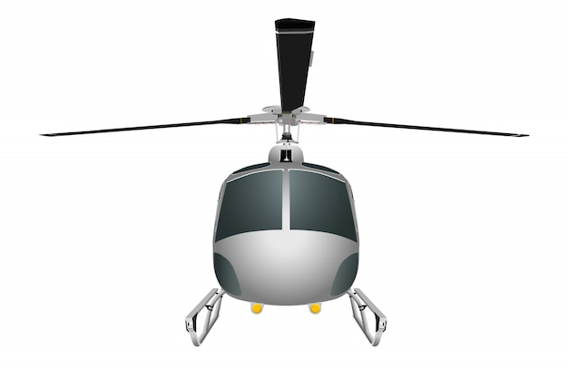 Helicopter with chassis and blades. Premium Vector
