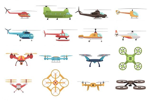 Вертолеты и беспилотный набор Бесплатные векторы