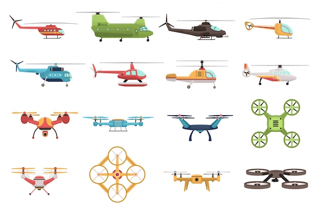 Helicopters and drone set Free Vector