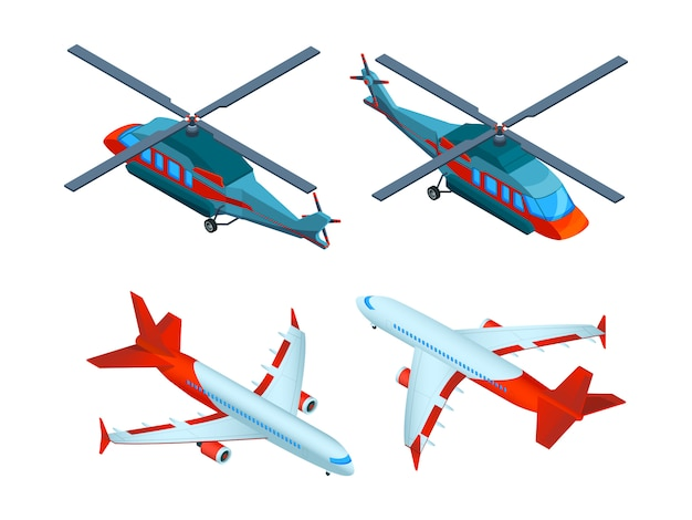 Helicopters isometric. 3d   avia transport. airplanes and helicopters Premium Vector
