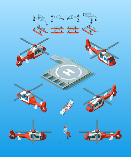 ヘリポート。ヘリコプターの等尺性民間航空は都市交通を設定しました。 Premiumベクター