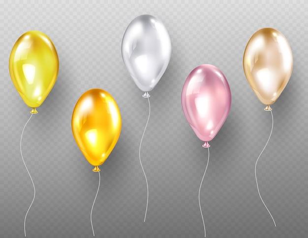 ヘリウム気球、金の色とりどりの光沢のあるオブジェクトを飛ばす 無料ベクター