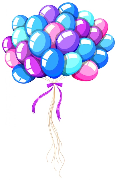 Helium balloons tied with ribbon Free Vector