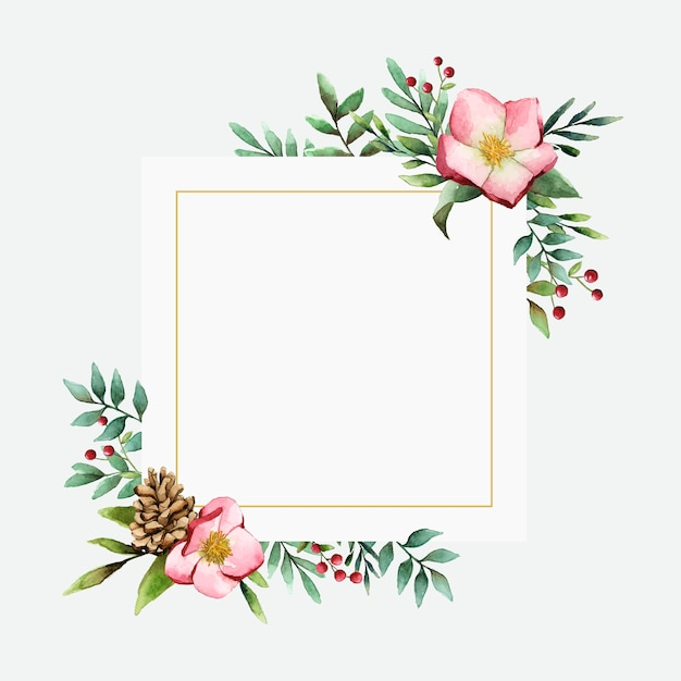 Hellebore flower frame painted by watercolor vector Free Vector