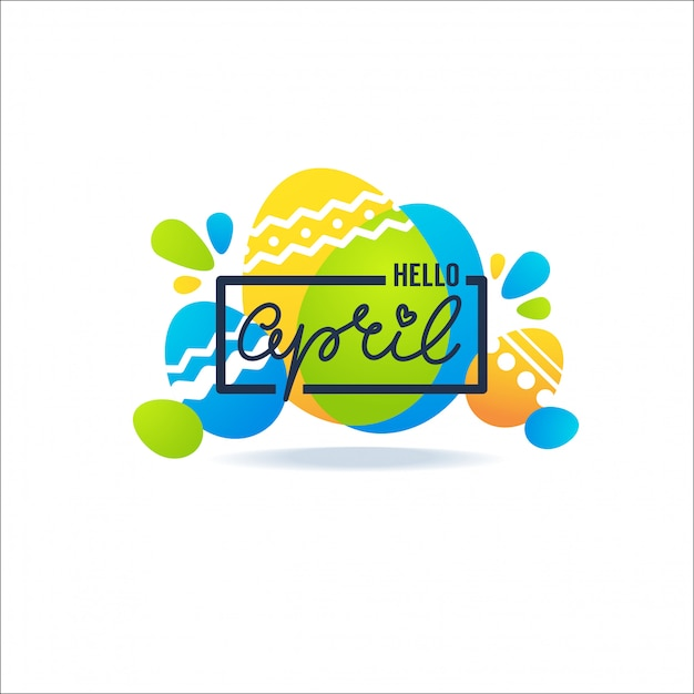 Hello april greeting banner with easter decorative ornamental eggs and lettering composition Premium Vector