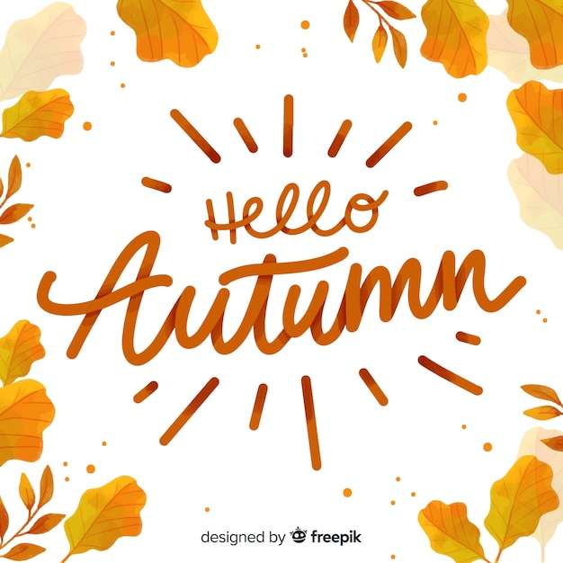 Hello autumn background calligraphic style Free Vector