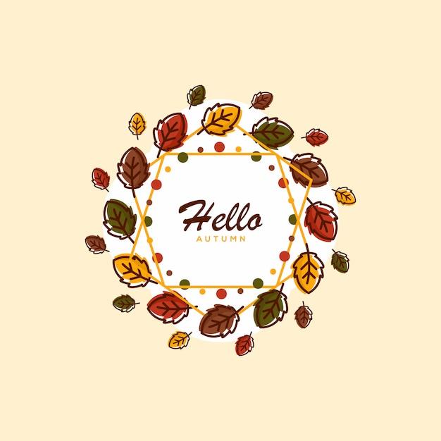 Hello autumn background illustration Premium Vector