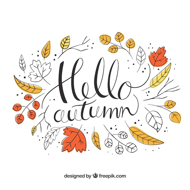 Hello autumn background with leaves Free Vector